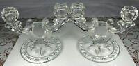 (2) GLASS DOUBLE LIGHT CANDLESTICKS Matching Set Retro 1930s-40s SUPERB Cond!
