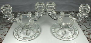 (2) VINTAGE GLASS CANDLE HOLDERS 1930s-40s Double Light Tapers Matching Set FAB!
