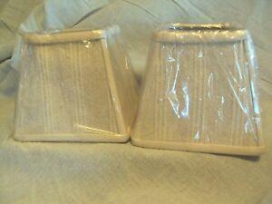 "square natural white beige cream striped fabric 5.75"" mini clip lamp shade set 2"