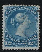 CANADA NO 28, LARGE QUEEN ISSUE OF 1868, FVF USED