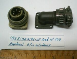 1  MS3108A14S-6P Military Connector w/Clamp, AMPHENOL, Lot 200, Made in  USA