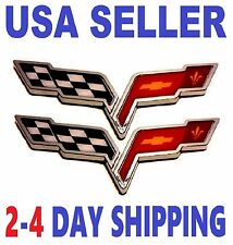2X CORVETTE 2X PIECES Cross Flags Car CHEVROLET TRUCK EMBLEM Sign BADGE Logo *fr