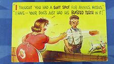 Bamforth Comic Postcard 1960s Dog Bite BBW Fat Lady Bottom Theme No 2289
