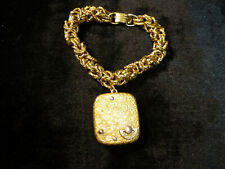 Vintage Swiss Reuge Minature Music Box Musical Gilt Gold Case & Bracelet Chain
