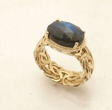 Sz 8 Technibond Labradorite Gemstone Byzantine Ring 14K Yellow Gold Clad Silver