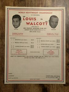 Joe Louis vs Joe Walcott 1948 Illustrated Ticket Order Form
