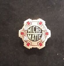 US 10k Gold Micro Matic Lapel or Tie Pin Badge with 4 Diamonds. 2.74 grams.