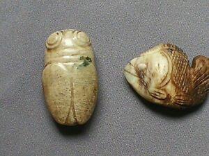 Lot de 2 pendentifs un papillon et un poisson en jade. Chine vers 1850 5cm - 3cm