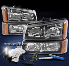 FOR 2003-2006 CHEVY SILVERADO REPLACEMENT BLACK HEADLIGHT LAMP +BLUE DRL LED+HID