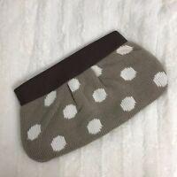 Mud Pie Women's Zip Clutch Handbag Purse Sweater Knit Tan White Polka Dot NWOT