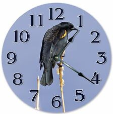 "10.5"" RED-WINGED BLACK BIRD CLOCK - Large 10.5"" Wall Clock - Home Décor - 3127"