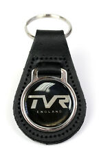 TVR England 28mm Logo Quality Black Leather Keyring