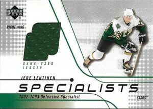 Jere Lehtinen 2002 Upper Deck Specialists Jersey Patch Hockey Card