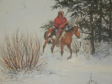 """RON STEWART 1975 Original Painting TRACKS IN THE SNOW 19"""" x 23"""""""