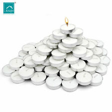 ILLUMIN8 Pack of 100 Unscented Tealight Candles - 100pk White burn 4 hours