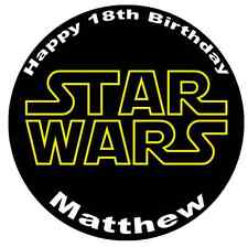 """Star Wars Logo Personalised Cake Topper 7.5"""" Edible Wafer Paper"""