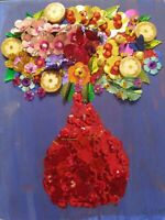 "Unique Mixed Media Art ""Flowers in a Red Vase""  hand sewn orignal art"