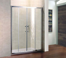 1700x700mm Sliding Shower Enclosure Screen Glass Cubicle Double Door+Stone Tray