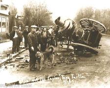 Vintage Firemen Horse Drawn Steam Pumper Accident Laurium MI Firefighting GREAT