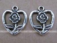 P075 15pcs Tibetan Silver Charm Heart Rose retro Accessories Wholesale