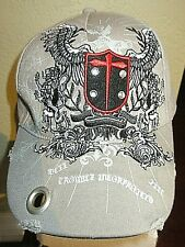 """Skull Cap Hat """"Trouble Incorporated"""" Embroidered~  Distressed Grommet Bill ~NEW"""