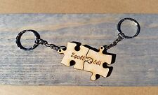 Puzzle Key Chain Pair  Couple Fun Split Names Coordinates Wood Made To Order