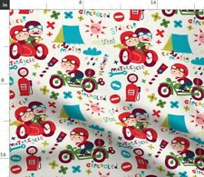 Motorcycles Bikes Motorcycle Sidecar Kids Camping Spoonflower Fabric by the Yard