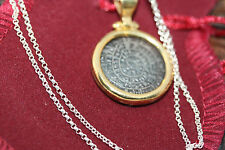 """Real Sterling Silver Gilt Greek Ancient Bezel Coin Necklace 45Cm 18"""" Rolo Chain"""