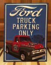 FORD TRUCK PARKING ONLY Embossed Oil Gas Tires Diamond Plate Vintage Style Metal