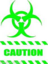 """CAUTION STICKER decal  8"""" x  6""""  in Color LIME GREEN"""