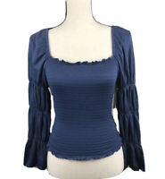 Rewash Women's Juniors' Size S Blue Puffy Sleeves Smocked Ruffle-Trimmed Top
