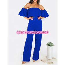 Ruffle Elegant Rompers Women Off the Shoulder Bodysuit Boot Cut Romper Playsuits