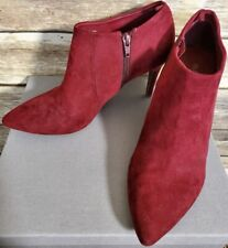 Red Suede Booties Size 8 Old Navy