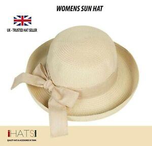 Womens Travel Summer Sun Straw Hat Foldable Brim Adjustable Trilby Bowler- UK