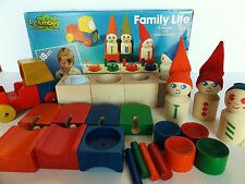 TC Timber Family Life Wooden Blocks #50-6548 Retired Set Preschool Vintage Wood