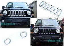 9pcs Chrome Front Grille Grill + Headlamp Cover Trim fits 2011-2017 Jeep Patriot