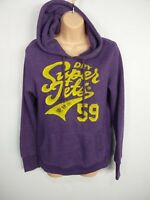 WOMENS SUPERDRY PURPLE SPELLOUT LOGO JUMPER SWEATER PULL OVER SIZE MEDIUM M