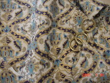 POLISHED COTTON CAFE 60'S NWT TURQUOISE GOLD AND BLACK WITH RINGS 35x32 EACH