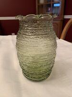 "Anchor Hocking Avocado Green Soreno Glass Vase Fluted Rim 7"" Tall"