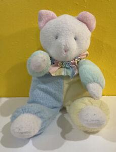 "Eden Bear Clown Bear Pastel Terry Blue Yellow Green Pink Stripe Collar 12"" Baby"