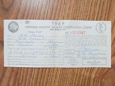 Vintage Wildlife Conservation License Montana 1969