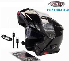 MotorradHelm Bluetooth Modularhelm Klapphelm Tourenhelm VIPER V171 Schwarz M