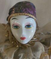 Vintage Wind Up Music Box -Jester, Clown Porcelain Hands/Legs/Head