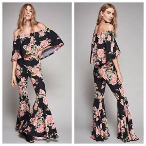 Free people off shoulder la babe ruffle floral bell bottom jumpsuit s small