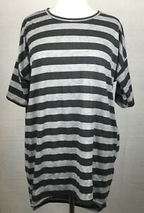 Lularoe Women's Irma Tunic T Shirt SIZE S Black Gray Striped Hi Lo Knit Top