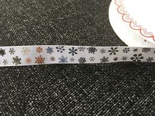 Christmas Snowflake Stars & Candy Stripe Grosgrain Ribbon Assorted Designs Snowflakes - Silver on White 16mm 3 Metres