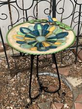 Stained Mosaic Bowl Unique Pedestal Bird Bath Pool Elegant Fountain Garden Art