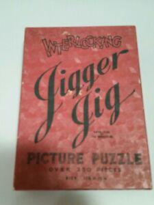 "Vtg 1938 Jigger Jig Picture Puzzle-interlocking-250+ pcs-""The Camp Fire""-Ser.C#4"