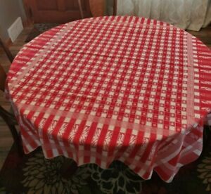 Wonderful Antique Turkey Red Tablecloth Checkerboard Small Floral