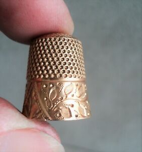 Antique 10K GOLD Ornate SEWING THIMBLE Engraved & Repousse LED Mono 4.2g Ex Cond